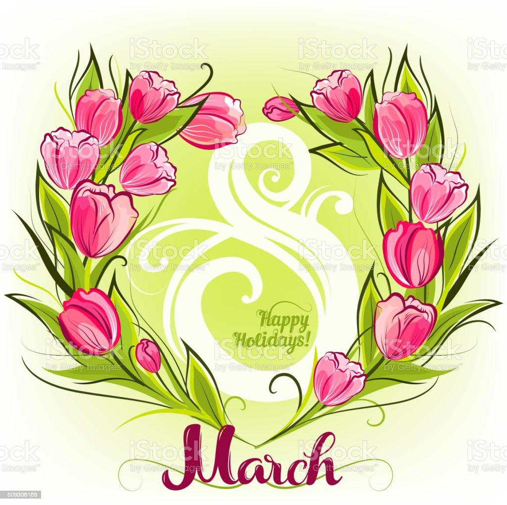 Tulpen Frühlingkarte Begrüßung Stock Vektor Art und mehr Bilder von ...