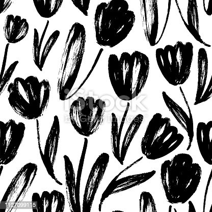 Tulips hand drawn seamless pattern. Black and white ink brush texture. Flowers grunge brushstroke drawing. Spring blooming buds background. Floral textile, wrapping paper vector fill