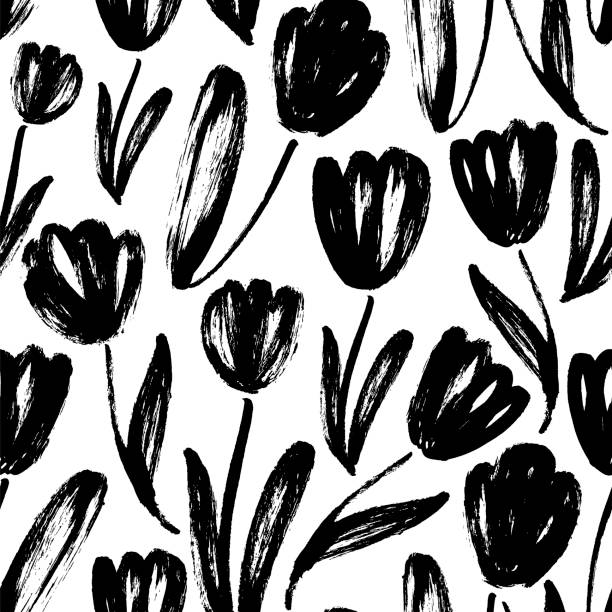 bildbanksillustrationer, clip art samt tecknat material och ikoner med tulpaner hand dragna sömlösa mönster - tulpaner