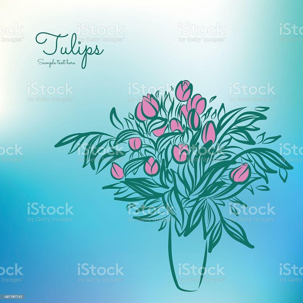 Vetores De Tulipas Em Vaso Esboco De Desenho Em Fundo Colorido E
