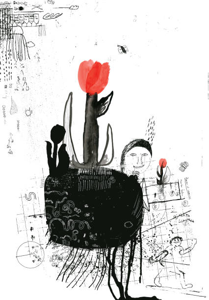 tulips, new life and growth in spring - composting stock illustrations