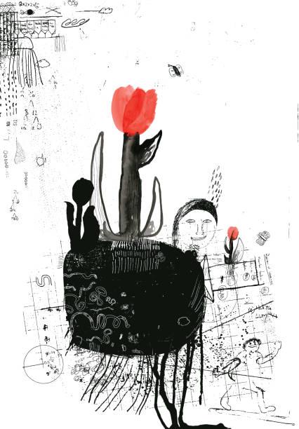 illustrazioni stock, clip art, cartoni animati e icone di tendenza di tulips, new life and growth in spring - composting
