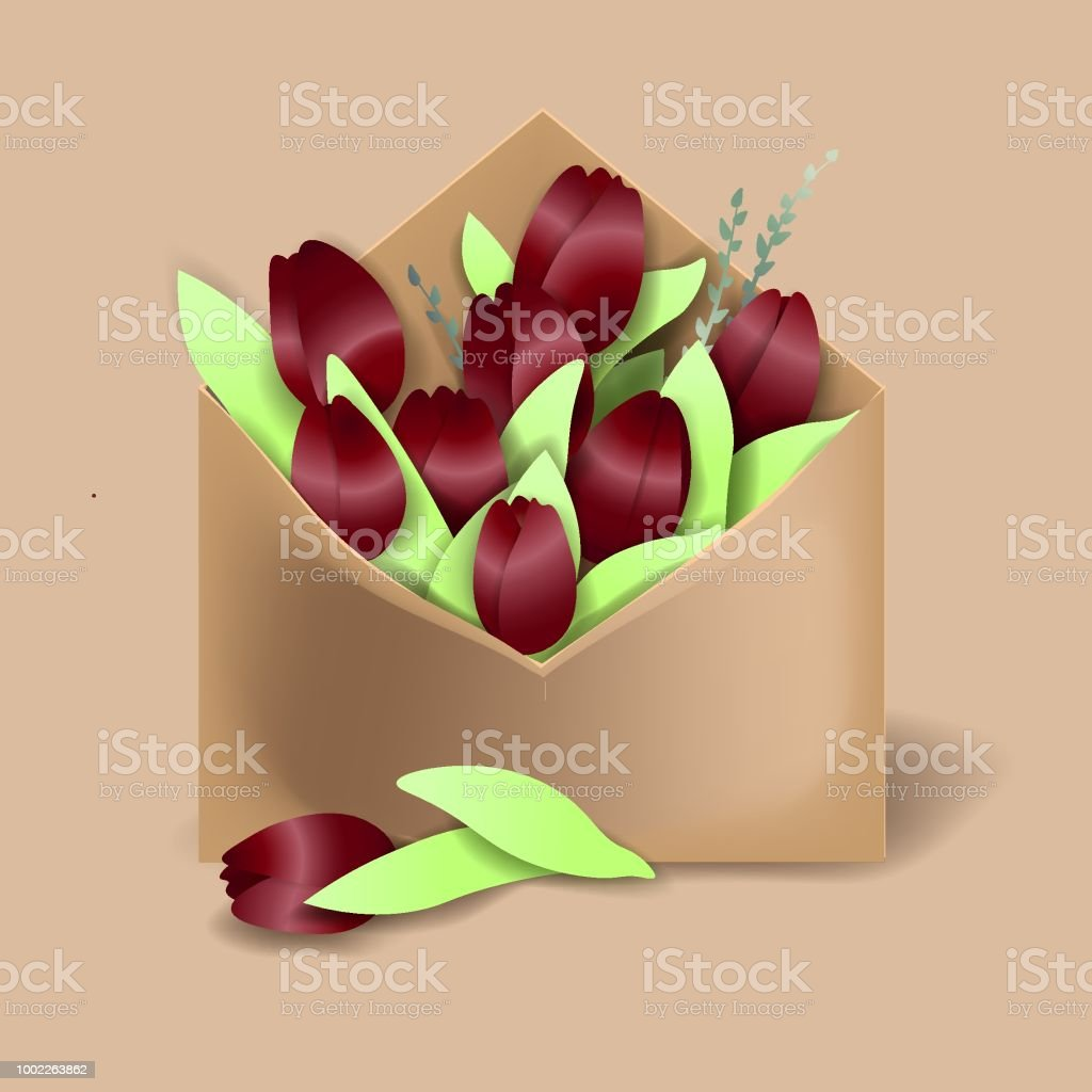 Tulips of bordo color in the paper envelope with springs and one flower separately lying векторная иллюстрация