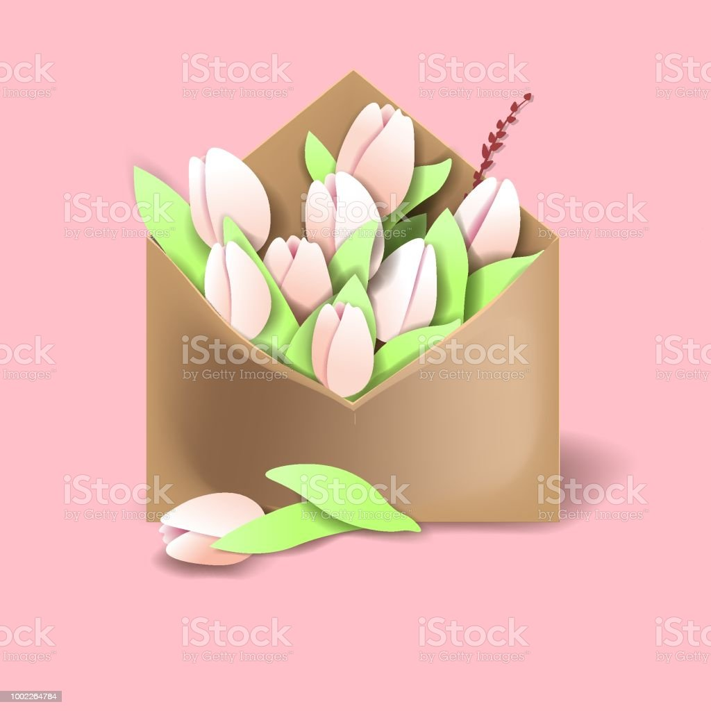 Tulips of pink color in the paper envelope with springs and one flower separately lying векторная иллюстрация