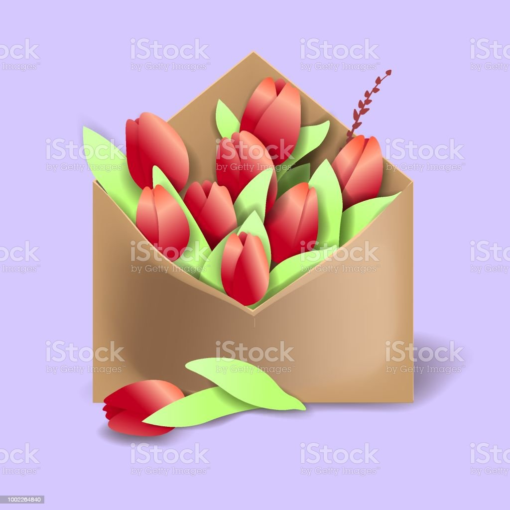 Tulips of red color in the paper envelope with springs and one flower separately lying векторная иллюстрация
