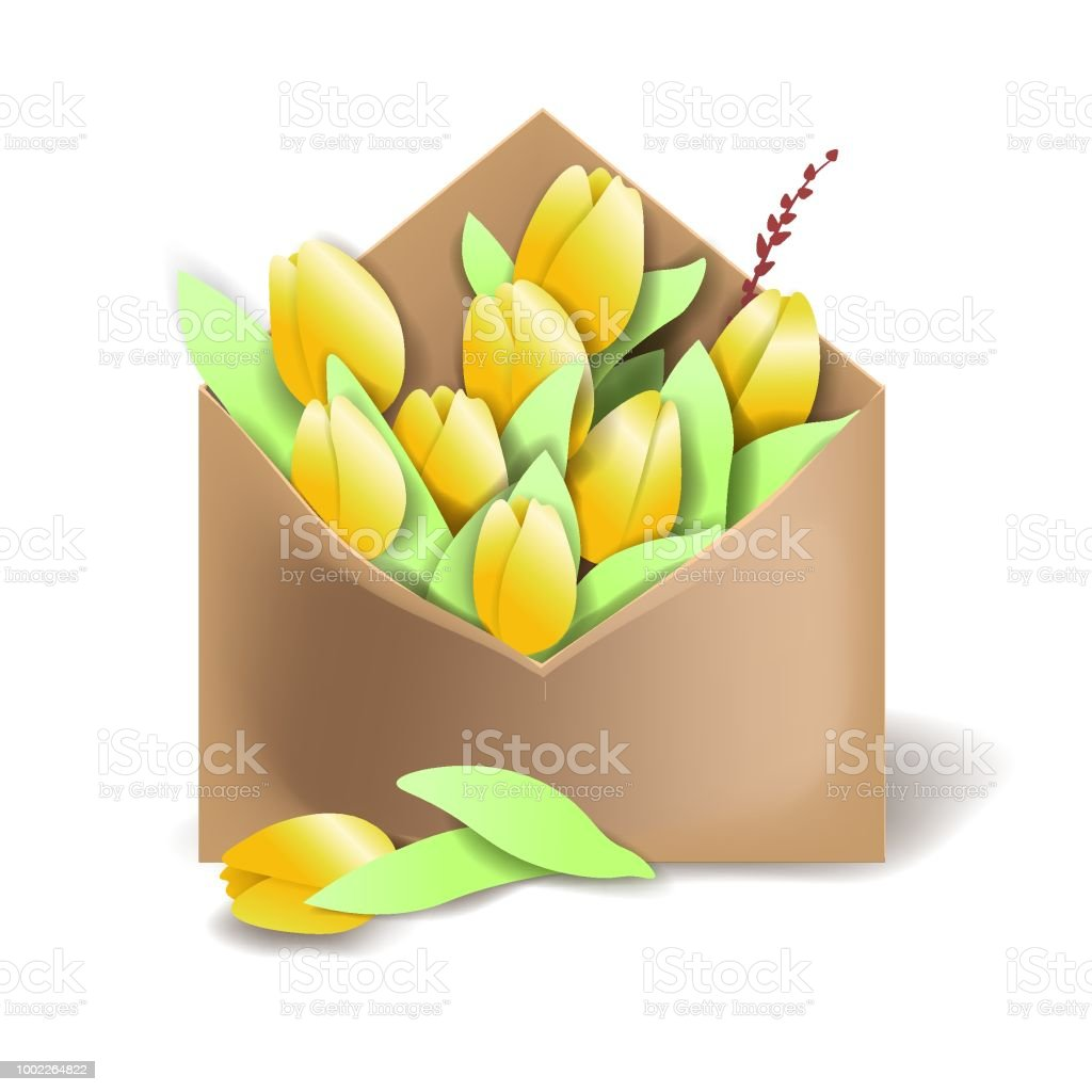 Tulips of yellow color in the paper envelope with springs and one flower separately lying векторная иллюстрация