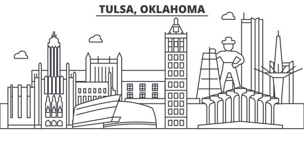 Royalty Free Tulsa Skyline Clip Art, Vector Images
