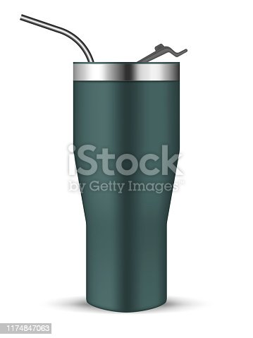 Tumbler cup with flip lid and metal drinking straw, realistic vector mockup. Stainless steel insulated bottle, mock-up. Travel thermo mug, template.
