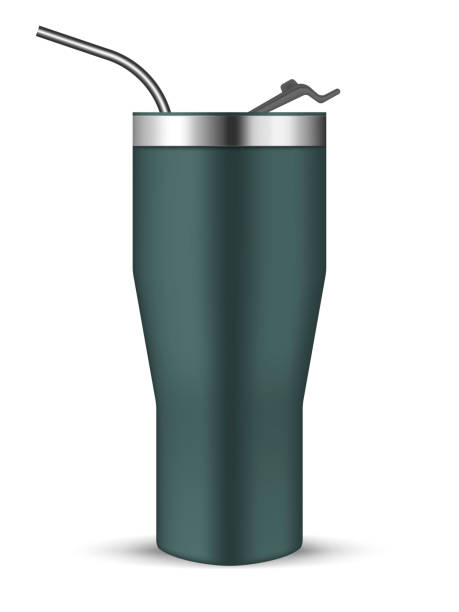 illustrazioni stock, clip art, cartoni animati e icone di tendenza di tumbler cup with flip lid and metal drinking straw, realistic vector mockup. stainless steel insulated bottle, mock-up. travel thermo mug, template - riutilizzabile