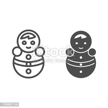 Tumbler doll line and solid icon, Kids toys concept, roly poly toy sign on white background, doll balance icon in outline style for mobile concept and web design. Vector graphics