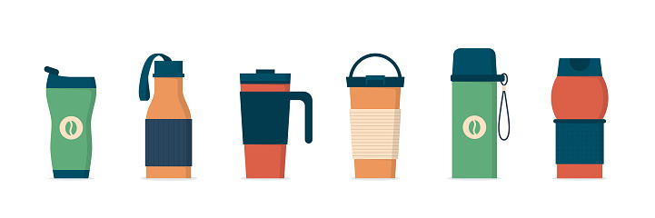 Tumblers with cover, travel thermo mugs, reusable cups for hot drinks