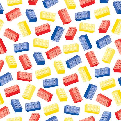 Tumbling toy bricks seamless tile pattern