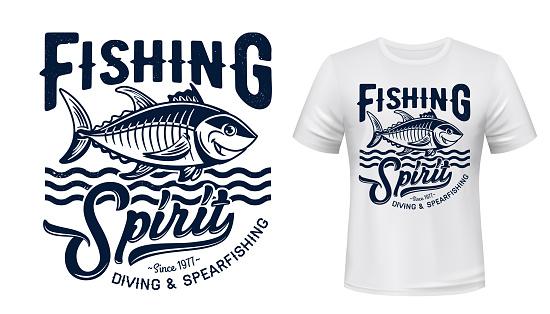 Tuna fish mascot t-shirt print vector mockup