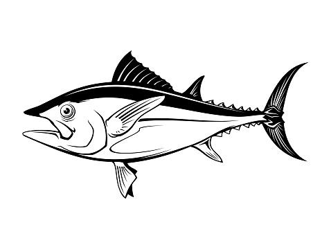 Tuna fish silhouette - cut out vector icon