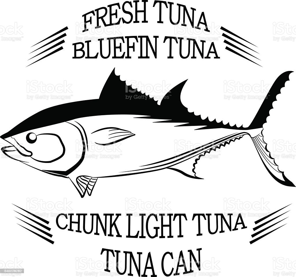 Tuna fish symbol on white background with inscriptions ,Vector. vector art illustration