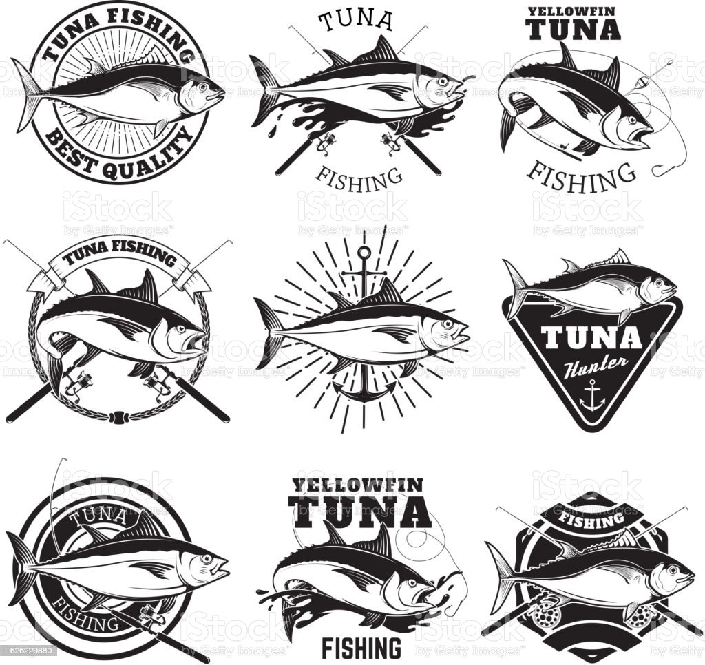 Tuna fishing labels isolated on white background. vector art illustration