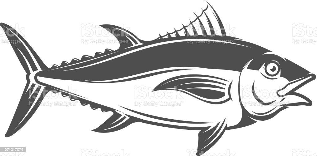tuna icon isolated on white background. Vector illustration. vector art illustration