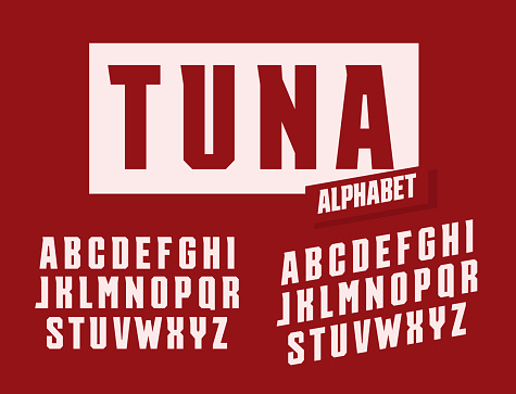 Tuna letters set. Stretched and tall with trendy angular serifs style vector latin alphabet. Fonts for events, promotions, logos, banner, monogram and poster. Typography design