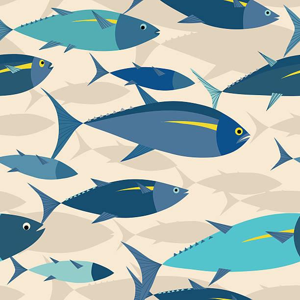 Thon shoal dans la mer motif sans couture. - Illustration vectorielle