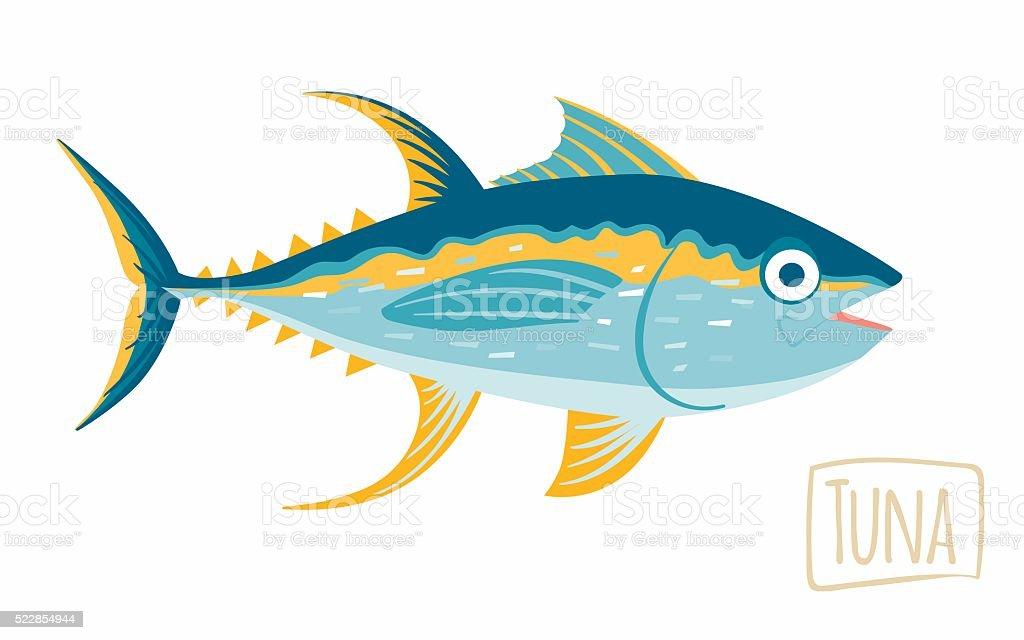 Tuna, vector cartoon illustration vector art illustration