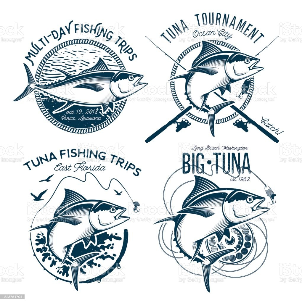 Tuna Vector designs. Sport Fishing Club designs. vector art illustration