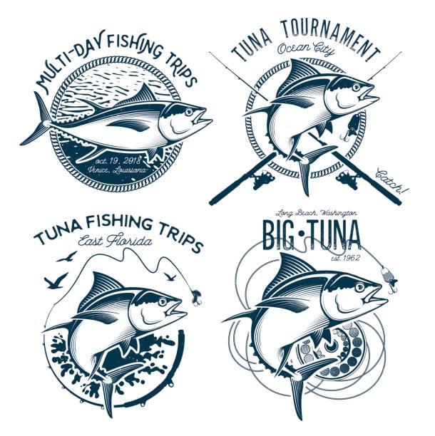 ilustraciones, imágenes clip art, dibujos animados e iconos de stock de diseños de vectores de atún. diseños de club de pesca deportiva. - pesca