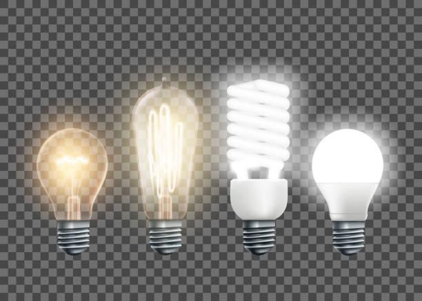 wolfram, edison, żarówki fluorescencyjne i ledowe - lampa elektryczna stock illustrations