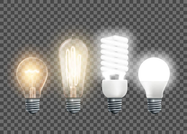 Tungsten, Edison, fluorescent and led light bulbs Set of electric lamps, tungsten, Edison, fluorescent and led. Isolated on a transparent background. Vector illustration. light bulb stock illustrations