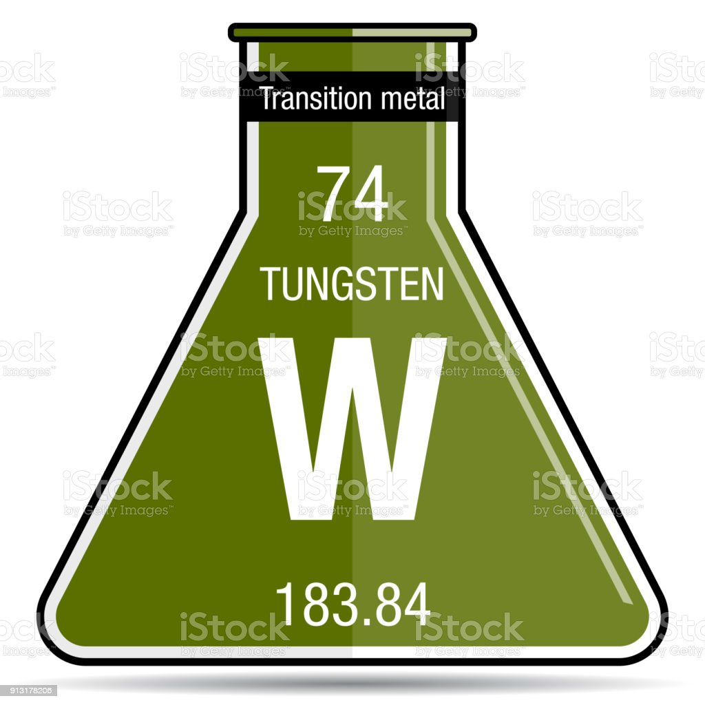 Tungsten Symbol On Chemical Flask Element Number 74 Of The Periodic