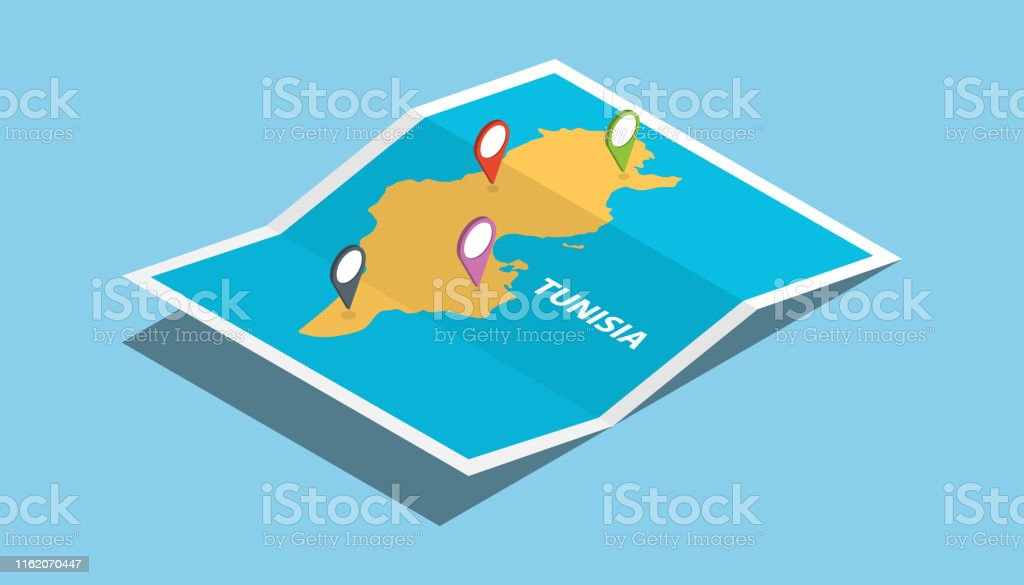 tunisia africa explore maps with isometric style and pin location tag...