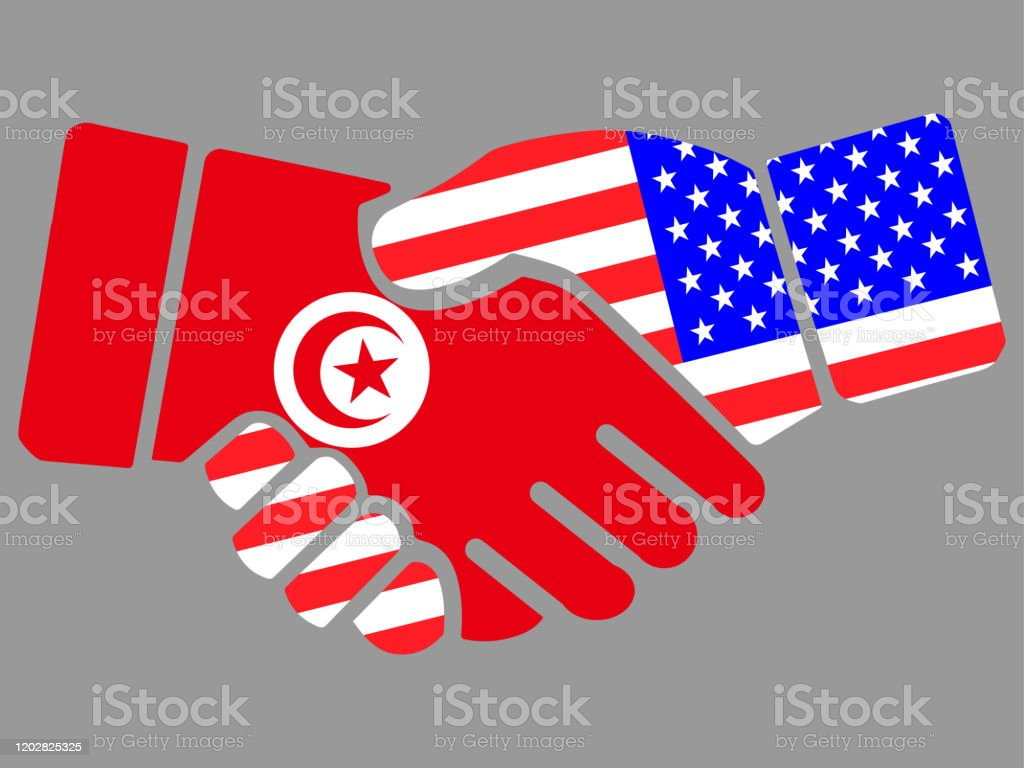 Tunisia And Usa Flags Handshake Vector Stock Illustration Download Image Now Istock