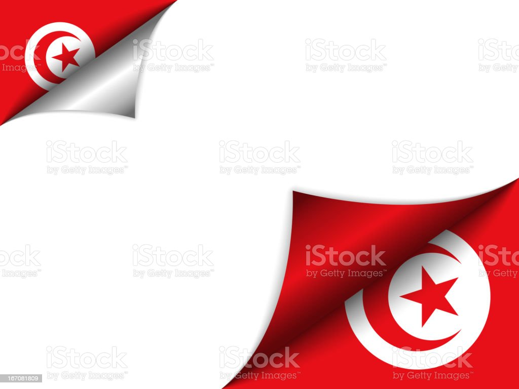 Tunisia Country Flag Turning Page royalty-free stock vector art