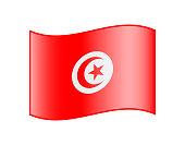 Waving flag of Tunisia isolated on white background