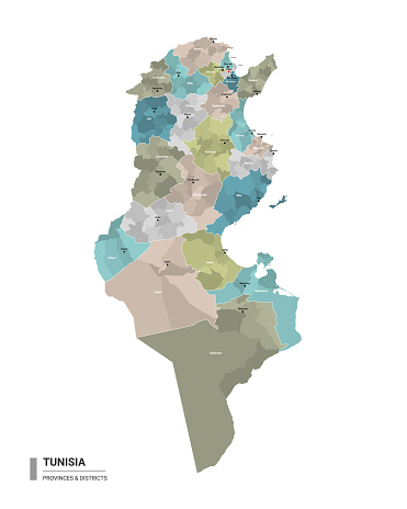Tunisia higt detailed map with subdivisions.