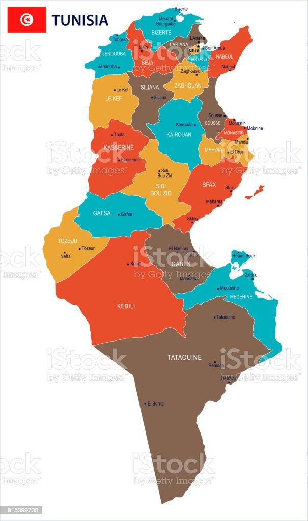 Tunesien Karte.Tunesien Karte Und Flagge Detaillierte Vektorillustration