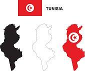 Tunisia map vector, Tunisia flag vector, isolated Tunisia
