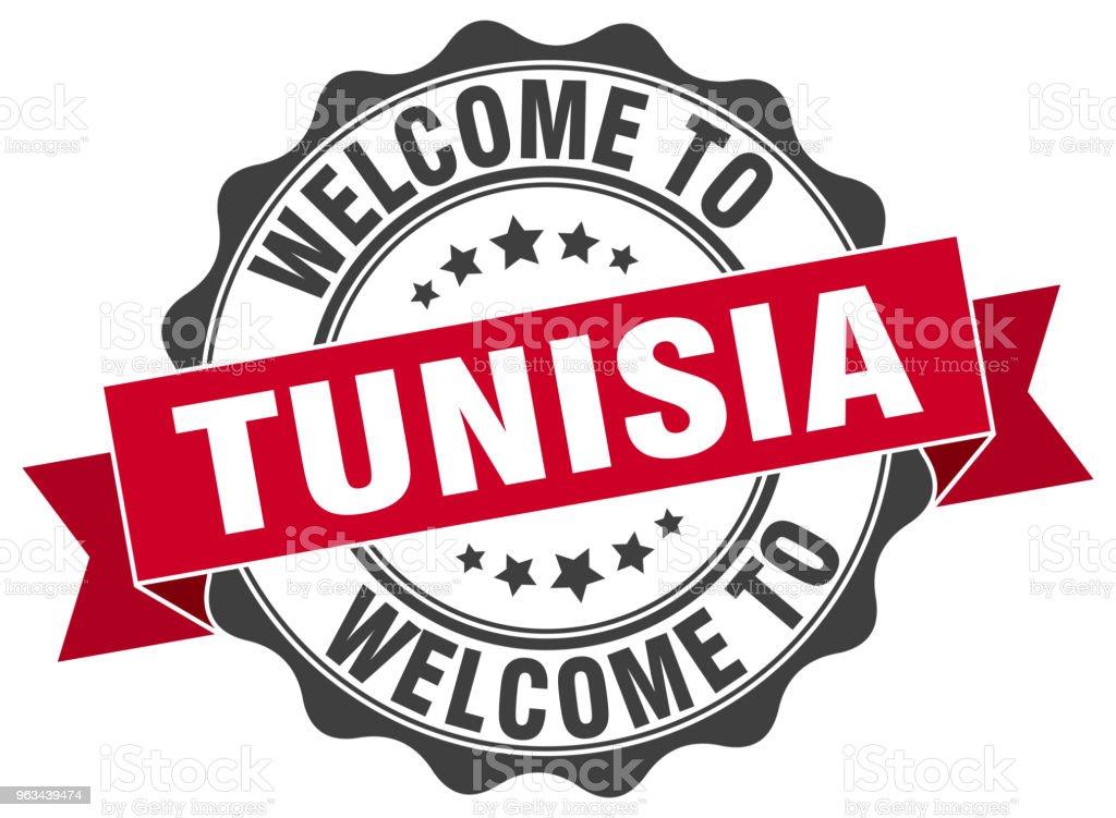 Tunisie tour ruban joint - clipart vectoriel de Badge libre de droits