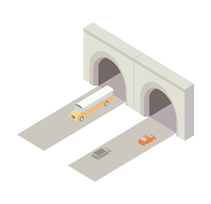 Tunnel entrance with roads and vehicles is seen from an aerial isometric perspective. Illustration includes high quality jpeg and vector eps files.