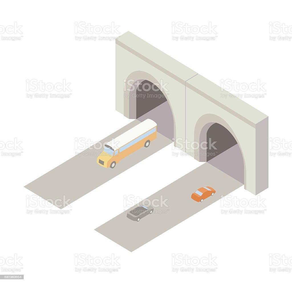 Tunnel entrance isometric illustration vector art illustration