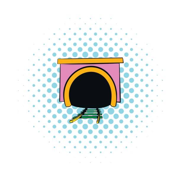 tunnel-symbol im comic-stil - langstreckenlauf stock-grafiken, -clipart, -cartoons und -symbole