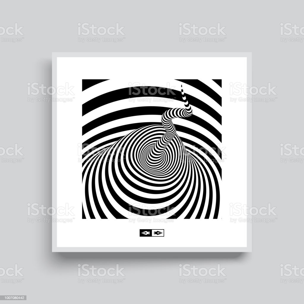 Tunnel Optical Illusion Black And White Abstract Striped Background ...
