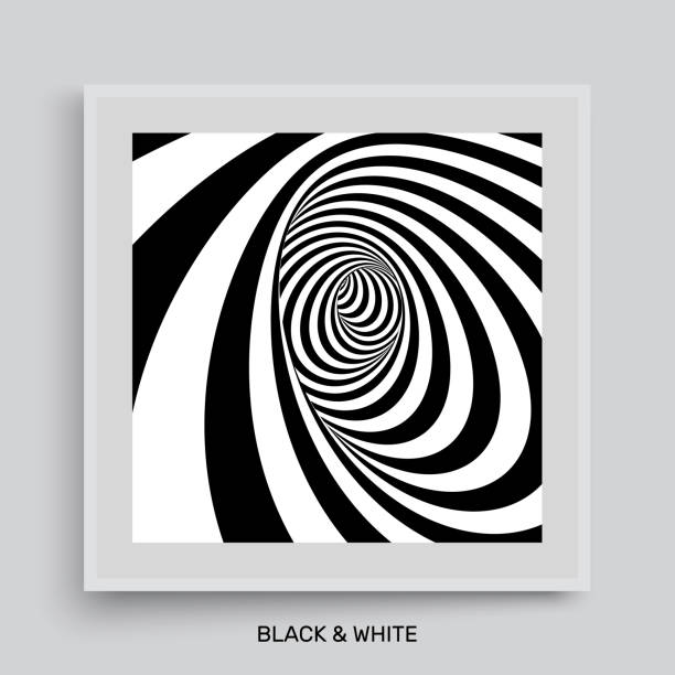 Tunnel. Optical illusion. Black and white abstract striped background. Cover design template. 3D vector illustration. vector art illustration