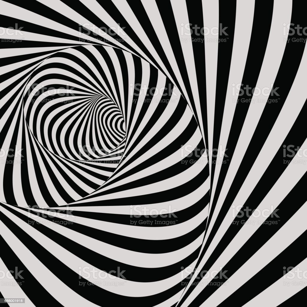 Tunnel. Optical illusion. Black and white abstract striped background. 3D vector. vector art illustration