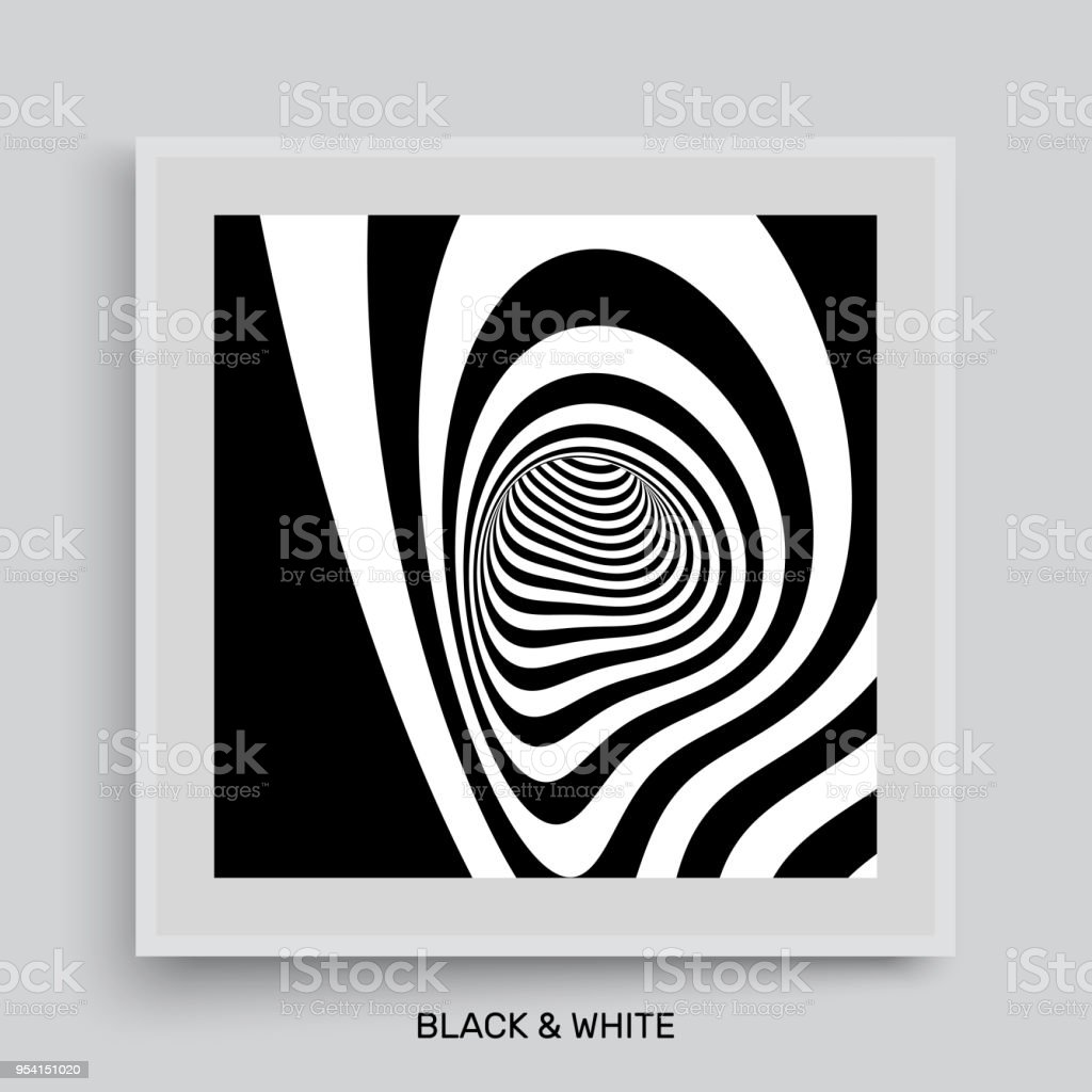 Black and white abstract striped background cover design template 3d vector illustration illustration
