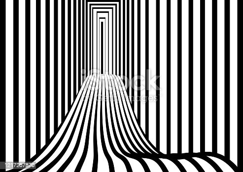 Tunnel or road to infinity. Geometric Black and White Abstract Hypnotic Worm-Hole. Opt Art picture. Optical Illusion. Vector illustration
