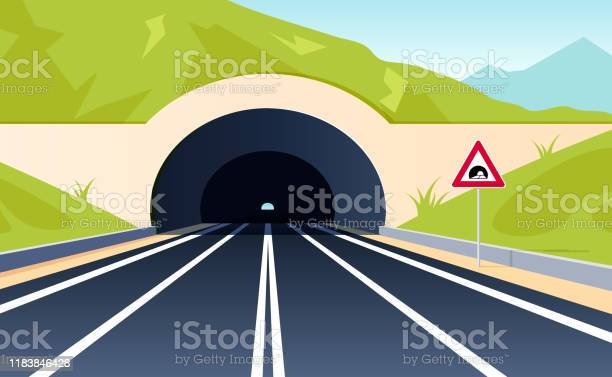 tunnel road concept mountain view in flat style stock illustration -  download image now - istock  istock