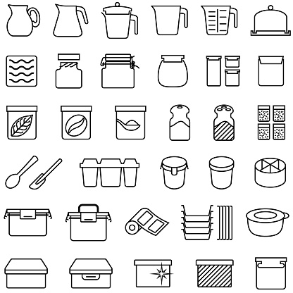Tupperware and plastic food containers icons.