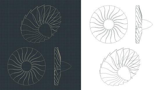 Turbine blades drawings