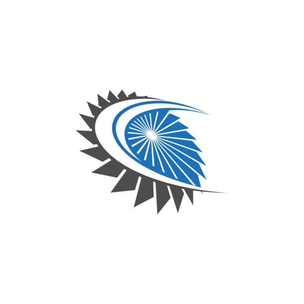 Wind Power Logo Design Template Illustrations, Royalty-Free