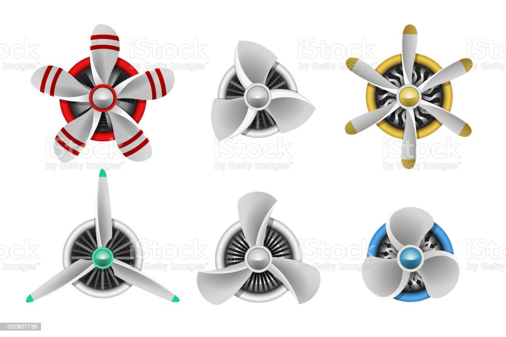 Turbines icons. Aircraft propeller turbines